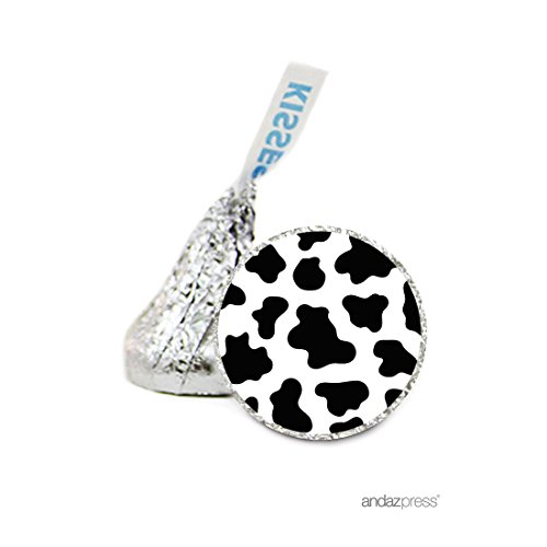 Cow Print Chocolate Drop Labels Stickers