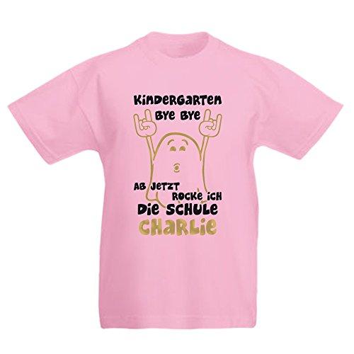 Kindergarten Bye Bye - Ab jetzt Rocke ich die Schule - mit Wunschname Kinder T-Shirt zum Schulanfang Kids 265.0096 (122-128, pink)