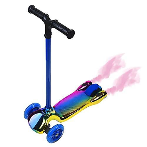 Patinete freestyle Folding Kids Scooter 3 rueda patear scooter con luces de aerosol LED Altura Ajustable Ajustable Banda de deslizamiento Anti-colisión Frenador rápido, para niñas / chico 2-12 años, M