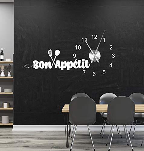 tjapalo® a226 Wanduhr Küche Wandtattoo Uhr Esszimmer Sprüche Zitate Wandspruch Bon Appetit Wandaufkleber mit Uhrwerk, Größe: B125 x H57cm (+Uhrwerk silber), Farbe: braun