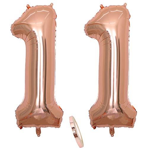 2 Globos Número 11 Años, Number 11 Globo Chica de oro rosa, 40