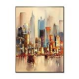 LEPOTN Pinturas al óleo abstractas de la Ciudad en la Lona Decoración Moderna de la Boda Cuadros Hechos a Mano de la Pared Pintura de la decoración del hogar-60 * 90cm