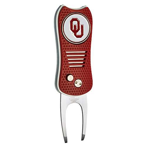 Team Golf NCAA Oklahoma Sooners Switchblade Divot Tool with Double-Sided Magnetic Ball Marker, Features Patented Single Prong Design, Causes Less Damage to Greens, Switchblade Mechanism