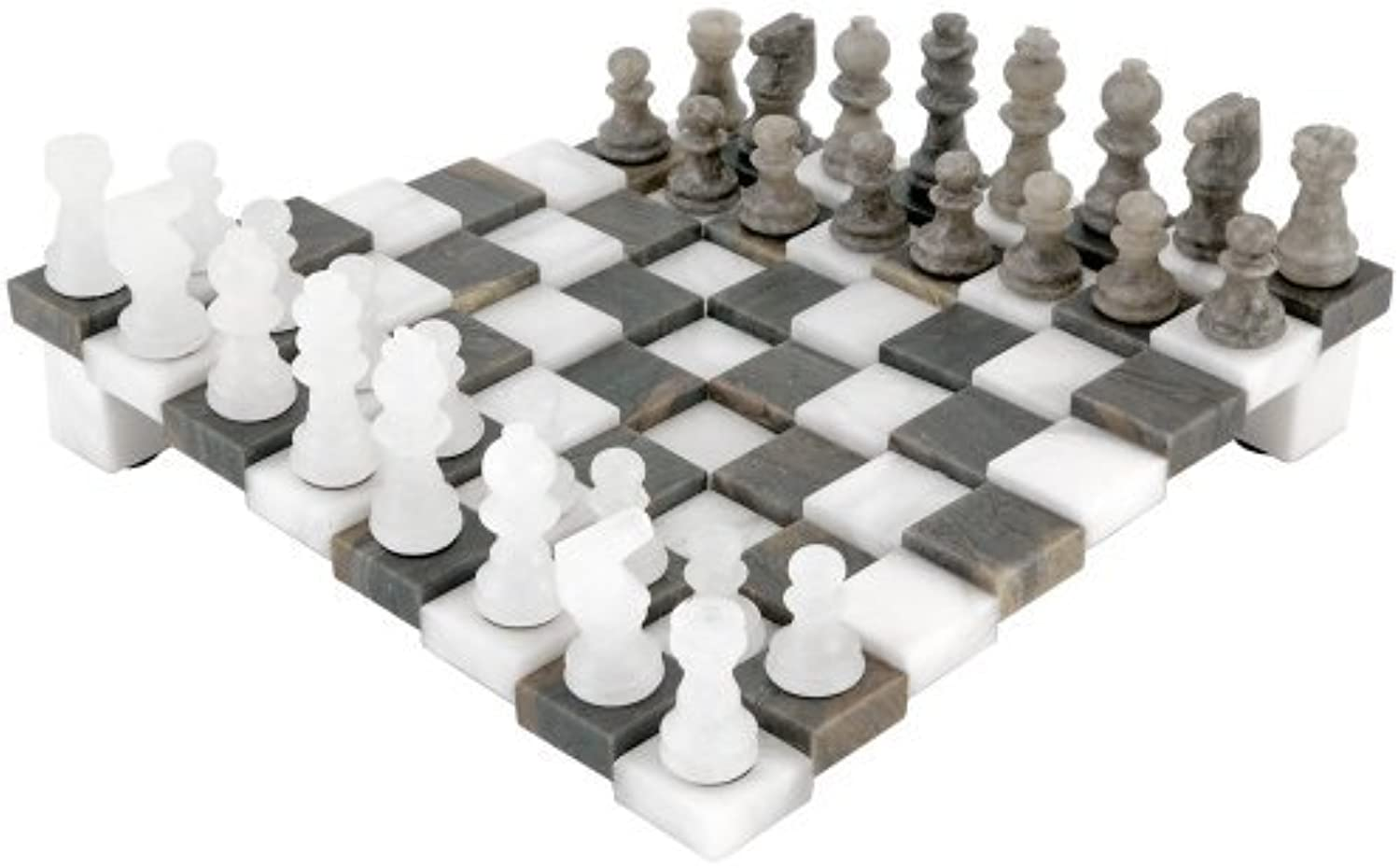 3 Dimensional Grey and White Alabaster Chess Set 9.5 Inches