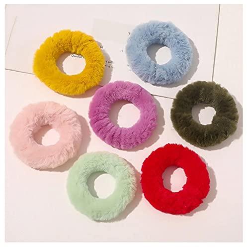 7 unids Color caramelo de piel de conejo coleteros mujeres esponjoso sin costuras cuerda de goma banda de pelo felpa anillo cola de caballo Accesorios para el cabello