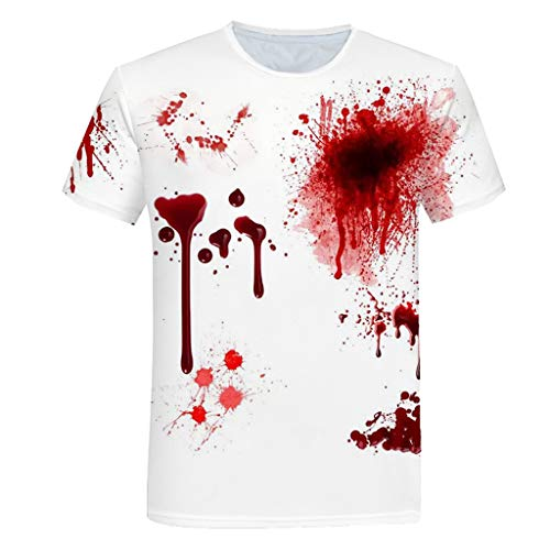 LXZWAN Rundhalsausschnitt Kurzarm Unisex Freizeit Mode Kurzarmhemden - 3D Printed Blutflecken Muster Sommer-kühle Bequeme Personality T-Shirts Sommer Basic Oben Hemd Tops Bluse