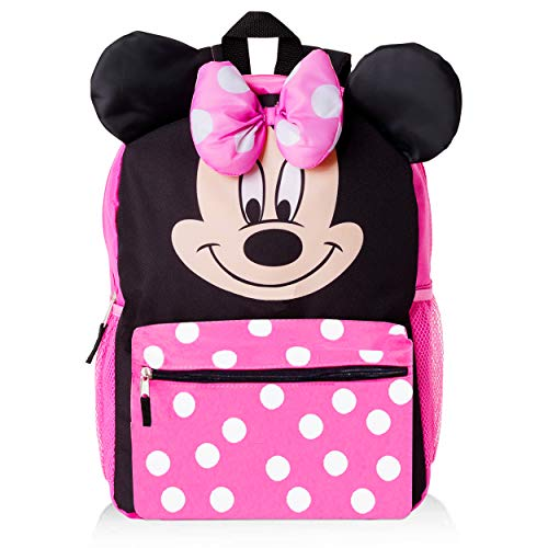 Big Face Minnie Mouse Backpack for Kids Toddlers ~ Premium 14' Minnie School Bag with 3D Ears and Puffy Bow (Minnie Mouse School Supplies Bundle)