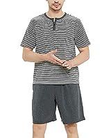 U2SKIIN Men's Cotton Pajama Sets, Short Sleeve Shirts Lightweight Shorts with Pockets(Dark Grey Mel, M)