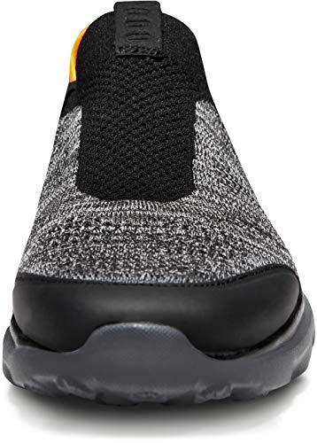 TSLA Men's Loafers & Slip-On Shoes, Lightweight Breathable Mesh Walking Shoes, Comfortable Casual Work Sneakers, Flex Slip-on(rx255) – Ash & Black, 11