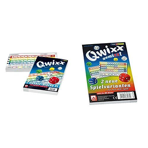 NSV - 4021 - QWIXX ZUSATZBLÖCKE, XL Format, 2 Stück a 80 Blatt - Würfelspiel & 4033 - QWIXX GEMIXXT - Zusatzblöcke 2-er Set - Würfelspiel