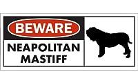BEWARE NEAPOLITAN MASTIFF ワイドマグネットサイン:ナポリタンマスティフ Lサイズ