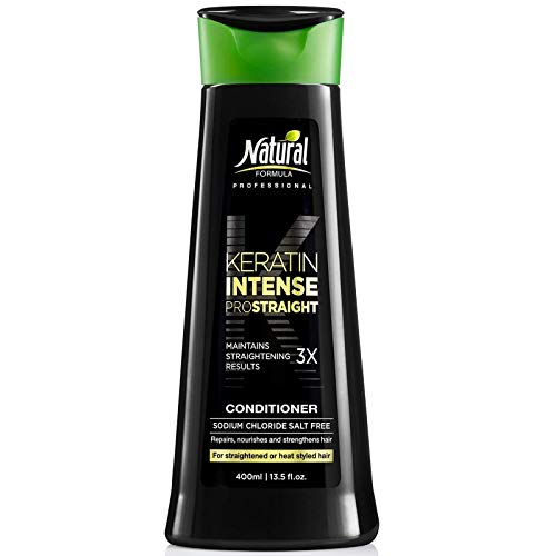 Natural Formula Keratin Intense Conditioner - Sodium Chloride Free Keratin Infused Conditioner - Keratin Hair Repair Treatment For Frizz Free Straightened Hair Retains Straightening Results 3x 13.5oz