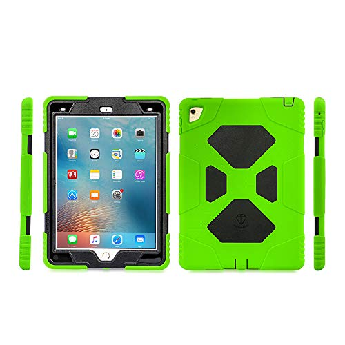iPad Air 2 case iPad Pro 9.7 Case for Kids Full Body Heavy Duty Shockproof Cover Case with Removable Kickstand & Built-in Screen Protector for Apple iPad Air 2 iPad Pro 9.7 (2016) (Green/Black)