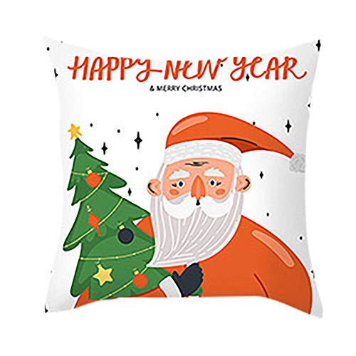 Christmas Throw Pillow Case,Xmas Trees Holiday Decorative Cushion Cover Cotton Linen 18x18 Inch