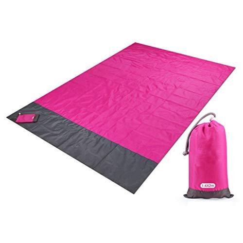 200x210cm Paquete de Bolsillo Picnic Playa Impermeable Estera Arena Manta Libre Camping Picknick Tienda Cubierta Plegable Copa de Cama (Color : Rose Red)