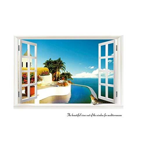 3d Muursticker Open Het Raam Is De Eindeloze Zee 70x90cm Slaapkamer Woonkamer Keuken Woondecoratie Behang