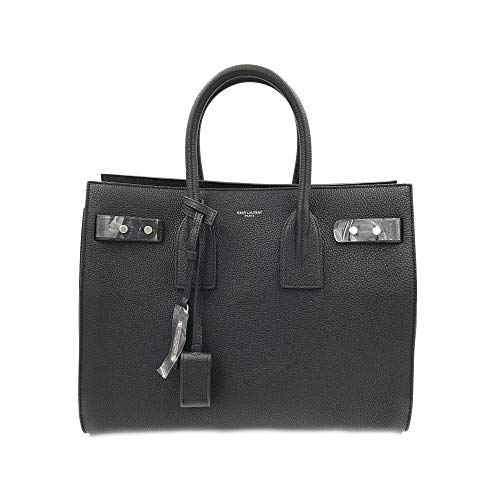 SAINT LAURENT Grained Leather Sac de Jour Medium Tote Handbag Black