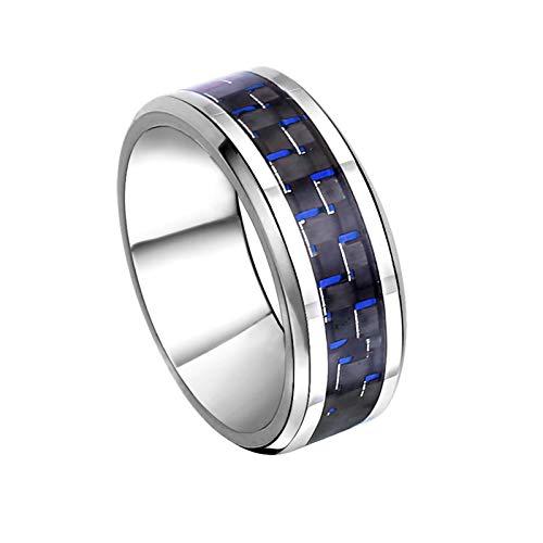 Beglie Ring für Herren Carbon Herren Ring Blau Silber Ehering Hochzeit Verlobung Band Silberring Jugendstil Ring Männer Geschenke für Männer Größe 62 (19.7)