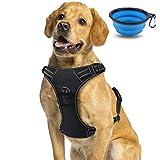 morpilot pettorina regolabile per cani, imbracatura cane traspirante durevole riflettente, pettorina per cane taglia grande, super-comoda per la corsa, jogging, taglia l, con ciotola pieghevole blu
