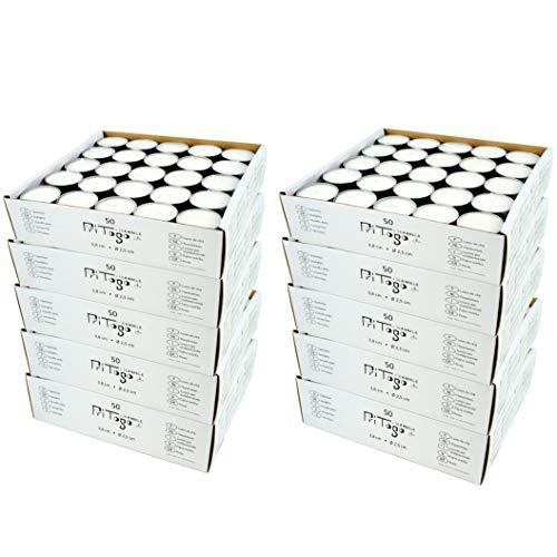 Pritogo Teelichter, Weiss [600 Stück] Ø 3,8 * 2,5 cm, Rußfrei, Brenndauer: 8 Stunden