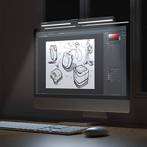 Computer Monitor Lampe,GlobaLink Schreibtischlampen Screen Bildschirmlampe Augenpflege E-Reading Lampe mit automatischer Dimmung und Farbtoneinstellung USB aufladen Desklampe- 52CM