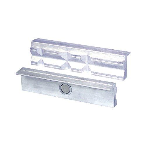 HEUER Magnet-Schutzbacke Typ P für Schraubstock 150 mm, Aluminium mit Prismen, zum Spannen von Werkstücken in verschiedensten Formen