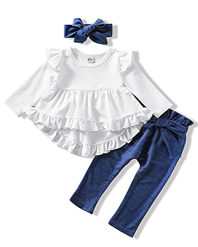 Infant Toddler Baby 18 Months Girls Clothes Long Sleeve Ruffles White Shirt Tops + Denim Blue Long Pants+ Headband Fall Winter Outfits for Girl