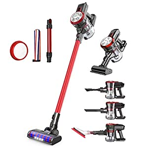 dibea Upgrade 22000Pa,5 in 1 Cordless Stick Vacuum Cleaner Lightweight Powerful Suction Bagless Rechargeable Handheld Car Vacuum for Carpet Hard Floor,Red