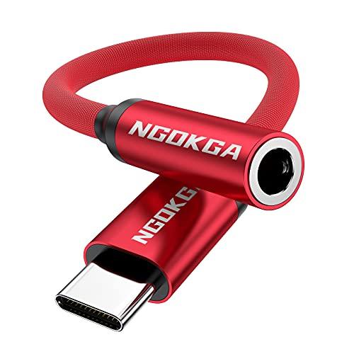 Adattatore jack AUX da USB-C a 3,5 mm il cavo adattatore audio per cuffie è adatto per Samsung S20 10 21 Note10 20 A8S A80 Huawei P50 P40 P30 P20 Pro Mate 30 20 40 Pro nova 5 (Rosso)