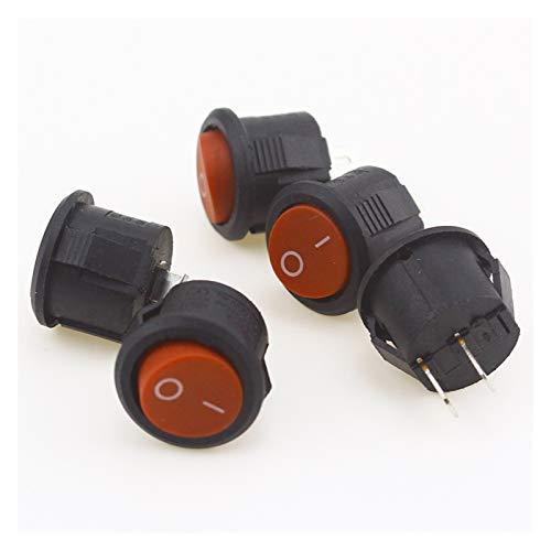 Yanqhua Interruptor basculante 5pcs / 10pcs de 16 mm de diámetro pequeño Ronda Barco balancín Interruptores Mini Ronda Negro Negro Blanco Rojo 2 Pin ON-Off Rocker (Color : Red 5PCS)
