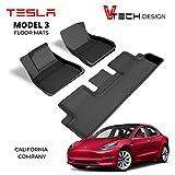 V Tech Design Tesla Model 3 - 2017 - 2021 Refresh - Custom Fit All Weather Floor Mats - Premium 3D Design - Heavy Duty Light Weight Waterproof Material - Non Slip Flooring - No Logo