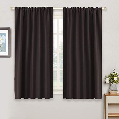 RYB HOME Blackout Window Curtains Insulated Drapes Rod Pocket Curtain Morden Panels for Cafe Shop Window Treatments Décor Draperies Energy Efficient for Bedroom, W 42 in by L 54 in, Brown, Set of 2
