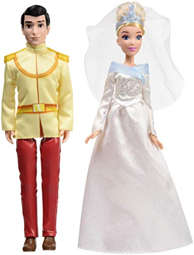 Disney Princess Cinderella and Prince Charming, 2 Fashion Dolls from Cinderella Movie, Doll in Wedding Dress, Tiara, and Shoes, Toy for 3 Year Olds and Up