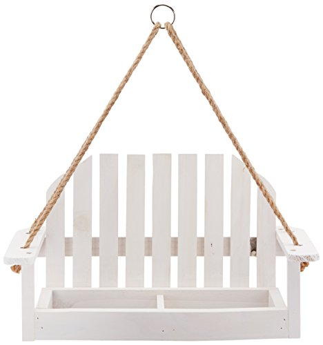 Worth Garden Novelty Bird Feeder with White Swing Chair Design - White Wooden Bird Feeder - Decorative Bird Feeder for Outdoors