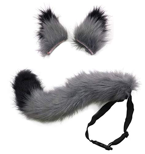 HAOAN Kids/Adult Faux Fur Fox Tail and Clip Ears Kit for Halloween Party Costume Accessories Xmas Toys Gift