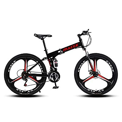 Adult Folding Mountain Bike, 26-inch 21-Speed high-Carbon Steel Double disc Brake Shock-Absorbing Off-Road Mountain Bike, Suitable for Outdoor Racing