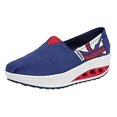 RAINED-Women's Low Top Canvas Shoes Classic American Flag Shoes Casual Slip-on Shoes High Platform Loafers USA Flag Shoe