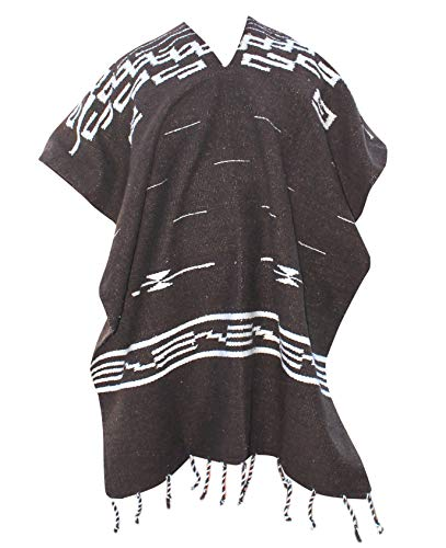 DelMex Clint Eastwood Spaghetti Western Cowboy Poncho Costume Sweater, Handwoven Made in Mexico (Dark Brown)