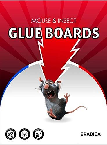 ERADICA™ – Trampa para Ratones con Pegamento – Paquete de 20 Placas Grandes 21 x 32 cm – Placas Adhesivas para Ratas, Roedores y Alimañas – Pegamento No Tóxico – Par de Guantes Incluido