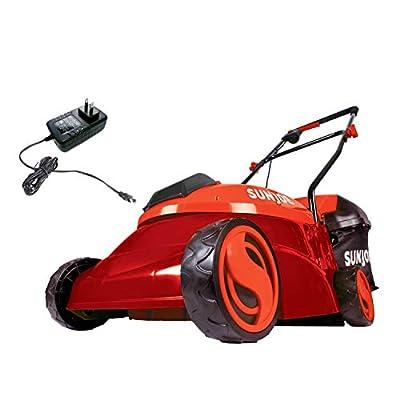 Sun Joe MJ401C-XR-RED 14-Inch 28V 5 Ah Cordless Lawn Mower w/Brushless Motor, Red