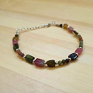 Green Pink Watermelon Tourmaline Rectangle Bead Bracelet for Women Sterling Silver Gemstone Jewelry