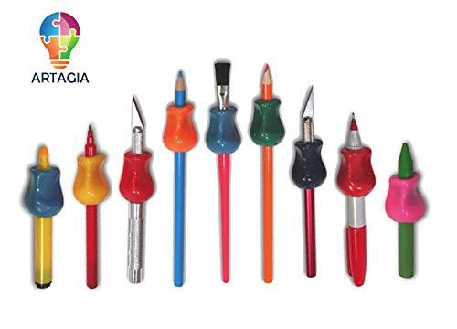 Stifthalter Stiftgriff Original Universal Ergonomische Schreibhilfe für Rechts- und Linkshänder, Anzahl 6, Verschiedene Farben von ARTIGIA