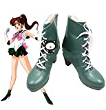 YOUYI Sailor Moon Sailor Jupiter Kino Makoto Imitated Leather Cosplay Shoes Halloween (Female US 8) Green