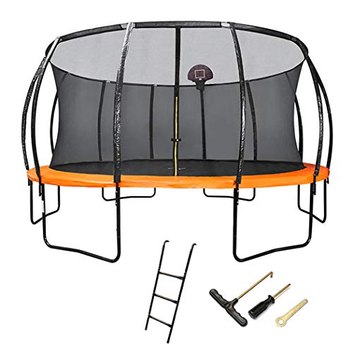 KOQIO 6FT-16FT Elastic Trampoline with Safety Ladder, Outdoor Indoor Fitness Bouncer with Safety Enclosure Net for Play And Exercise Jumping Trampoline,6FT
