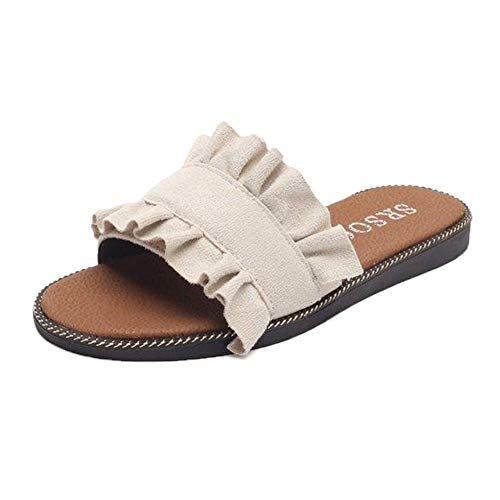 Damen Schlappen Schleife Sommer Sandalen Flache Espadrille Sandaletten Peep Toe Wildleder Strand Hausschuhe Böhmischer Stil für Draußen und Drinnen Weiß 38 EU