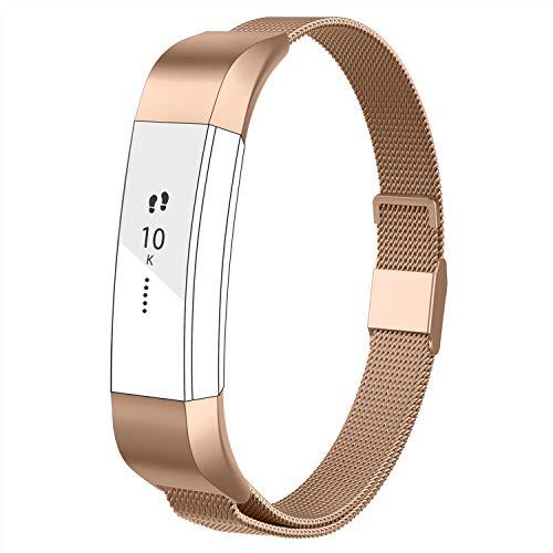 Adepoy für Fitbit Alta HR Armband und Fitbit Alta Armband, Metall Edelstahl Ersatzarmband Kompatible mit Fitbit Alta/Alta HR, Damen Herren (Rose Gold, L)