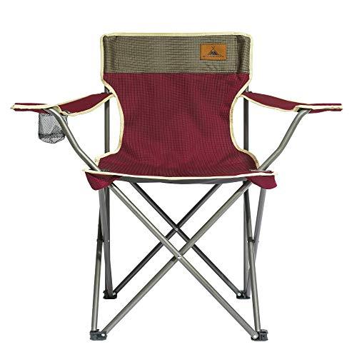 WANDERFALKE Campingstuhl/Faltstuhl Bordeauxrot (Größe M) - mit Getränkehalter & Rückentasche