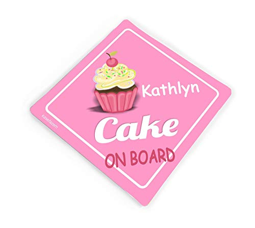 2x Personalized Cake on Board, Cute Simple Pink Car Stickers