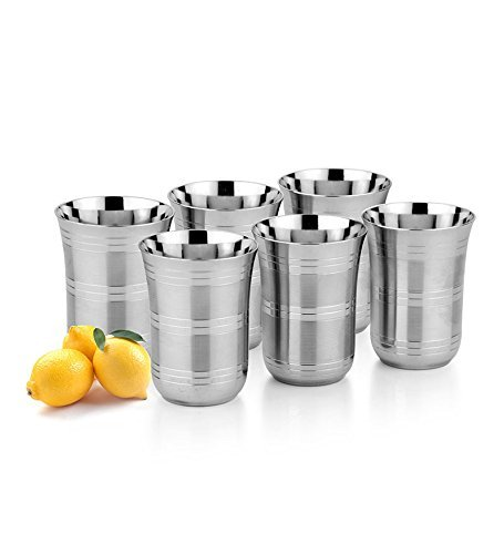 King International 100% Stainless Steel Drinking Glasses Tumbler shape With Silver Touch Set of 6 Pieces,Made of Unbreakable Dishwasher Safe Great for Daily, Formal & Outdoor Use, Camping & Picnics