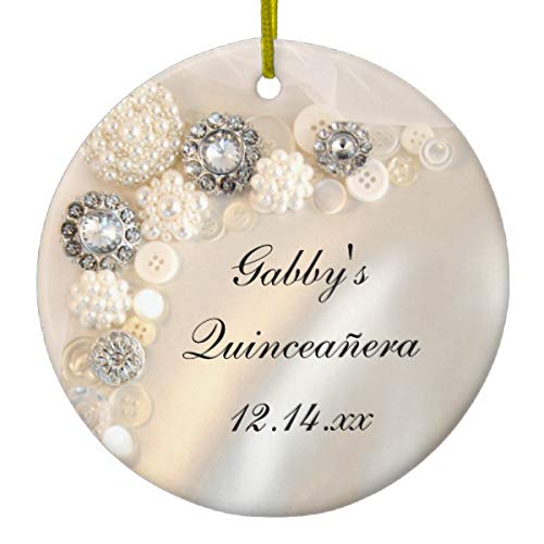 Lplpol White Pearl And Diamond Buttons Quinceañera Xmas Trees Home Ceramic Ornaments Porcelain Ornament Personalize